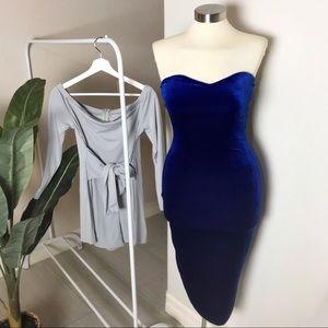 Velvet royal blue midi + romper